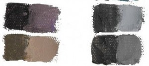 Color swatches showing mixing mud with complementary colors