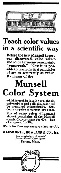 An advertisement in the School Arts Magazine featuring Munsell  Water Colors from Wadsworth and Howland