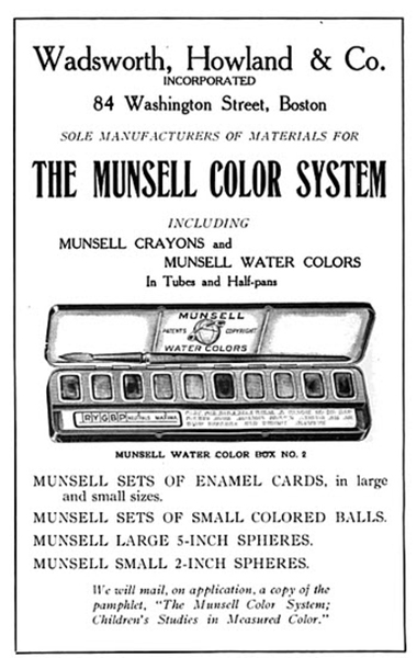 An advertisement for the Munsell Water Colors in the Eastern Manual Training Association guide.