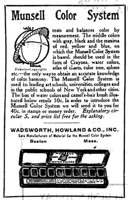 An advertisement for the Munsell Water Colors in the Journal of Education from 1914