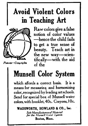 An advertisement for Munsell Water Colors in the 1915 Schools Arts Magazine