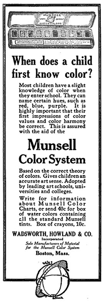 An advertisement for the Munsell Water Colors from Wadsworth Howland in the School Arts Magazine
