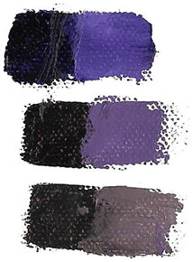 Color swatches showing examples of bright and dull purple color bias