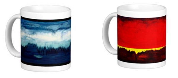 Art mugs by Leanne Venier showing intense red on one and calming blue on the other