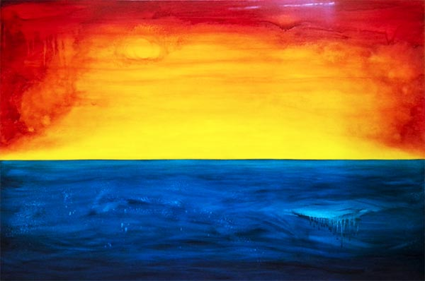 Journey to the Light, a fiery red and yellow and intense blue painting by Leanne Venier
