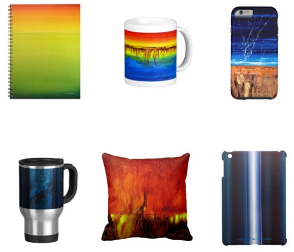 Printed art products by Leanne Venier including notebook, mugs, cell phone covers and pillow
