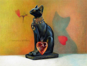 A drawing of a black Egyptian cat set on a yellow background by Veronica Winters