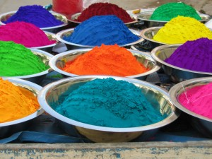 Bowls of brightly colored chalk.