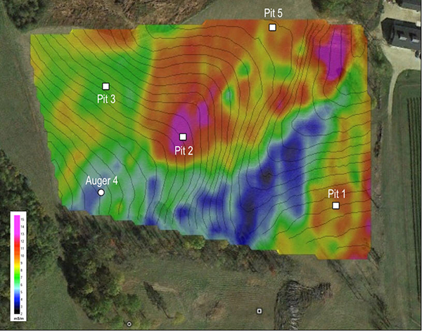 A geophysical soil map from a wine vineyard
