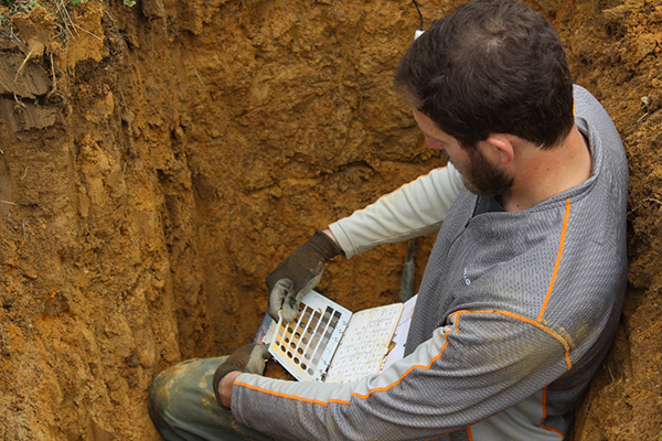 A geologist checking soil samples on a wine vineyard using the Munsell soil color chart