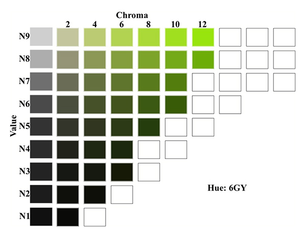 A chart showing the Munsell value, hue and chroma for 6GY