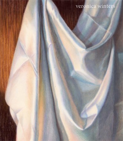 A drawing of white fabric draped showing a range of warm and cool colors by Veronica Winters