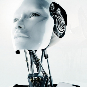 The head of a robot with human looking eyes.