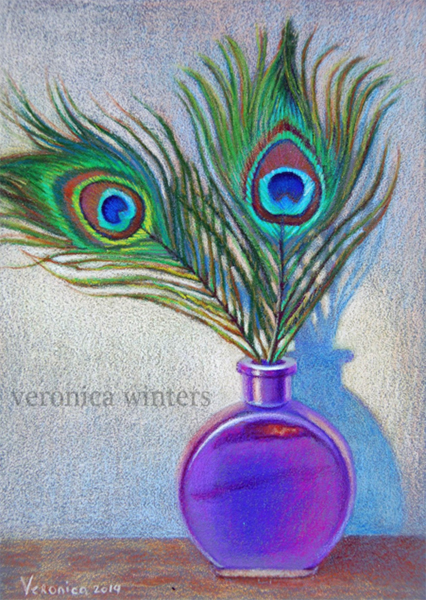 A drawing of a peacock feathers using high chroma colors set against grey to increase contrast by Veronica Winters