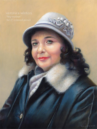 A drawing of Veronica Winters' mother using warm skin tools set against a cooler background.