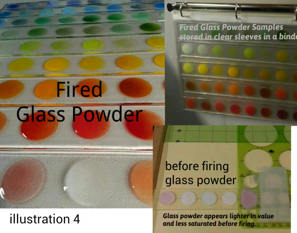 Fired glass powder samples, showing how glass powder appears lighter in value and less saturated before firing.
