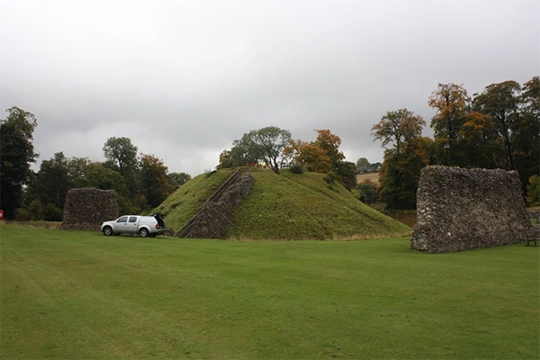 Berkhamsted Castle motte, constructed of pale chalky material.