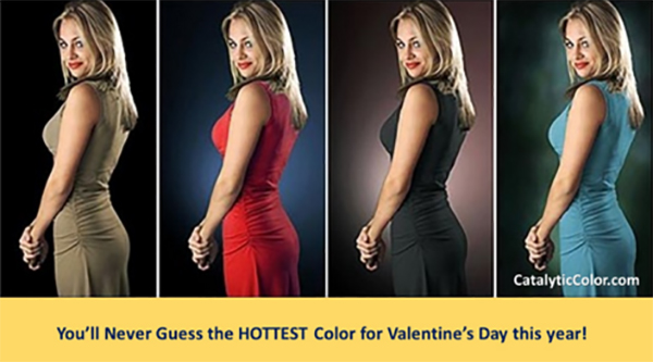 A woman in 4 different dress colors shows how red is the most energizing