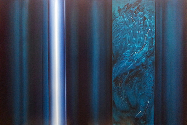 A painting by Leanne Venier with blue and white vertical stripes