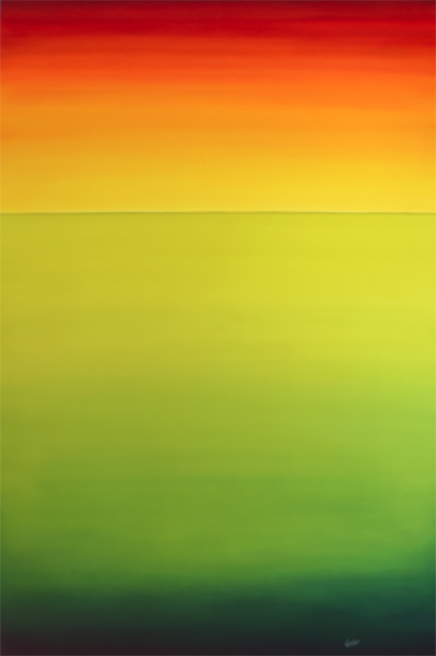 A painting by Leanne Venier that goes from red, to yellow, to green to blue