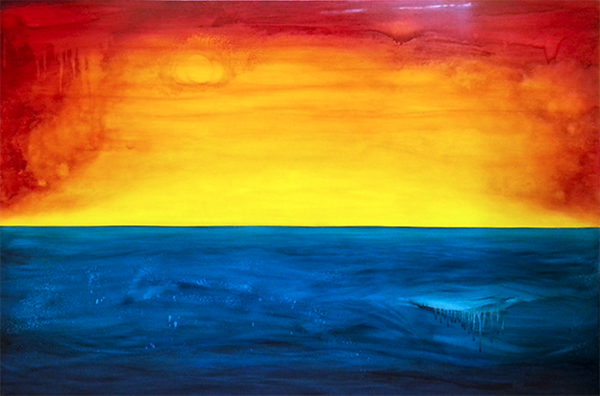 A painting by Leanne Venier with a fiery red and orange yellow sky and blue sea
