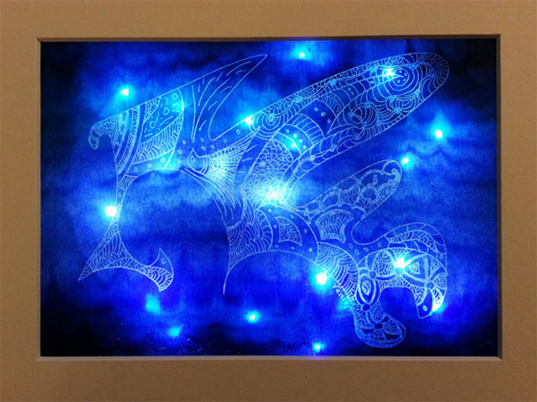 A painting by Leanne Venier primarily blue with illuminating effects