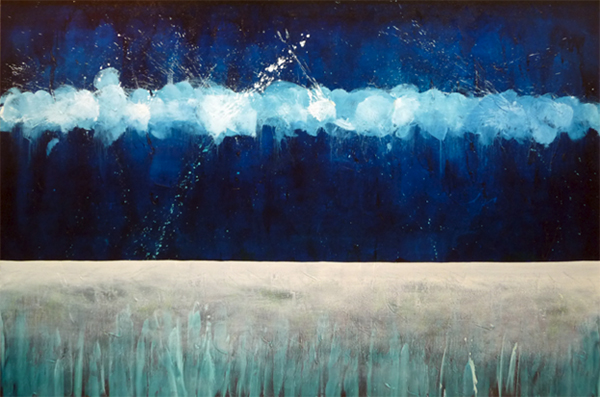 A painting by Leanne Venier with predominately blue and white colors