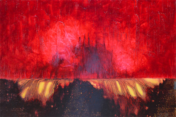 A painting by Leanne Venier with bright red and deep browns