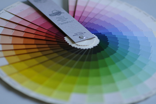 The Nickerson Horticultural color chart fanned in a circle to help with determining complementary color