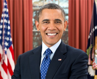 Obama wearing a blue tie in front of a red background