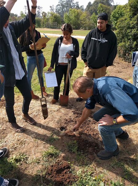 A group of agriculture studies students gather in the field to analyze soil color