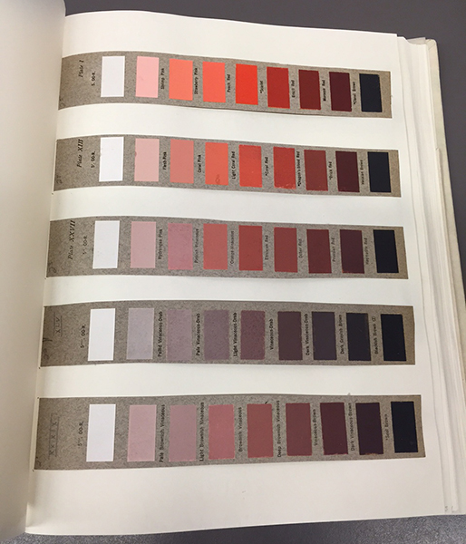 An excerpt of color charts in red hues from the Nickerson collection of Munsell materials