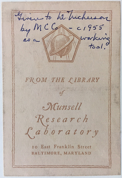 A cover sheet for a book from the Munsell Research Library