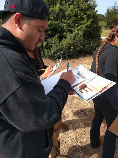 A agricultural student takes notes studying soil science in the field