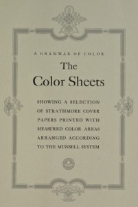 The title page for the Color Sheets section of the 1921 book, A Grammar of Color.