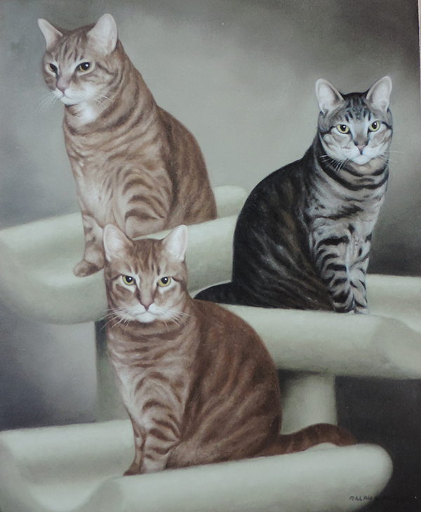 A painting of three cats by Ralph Garafola Ginger, Pepper and Nutmeg