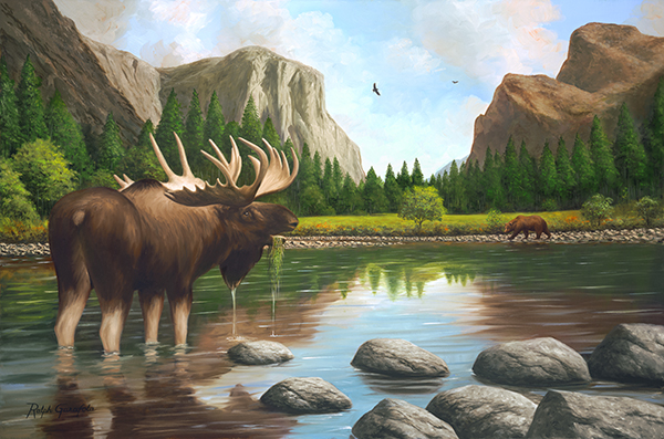A painting by Ralph Garafola Moose in Yosemite