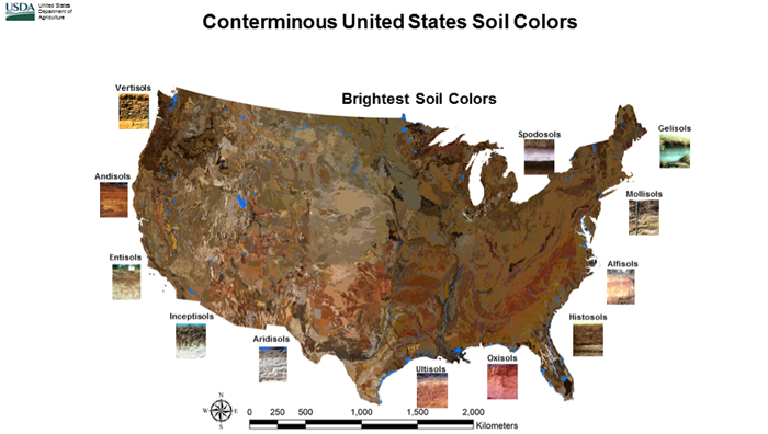 A map of conterminous soil colors in the United States from the USDA