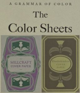 Color sheets from A Grammar of Color with Millcraft cover paper in Gray Antique Finish, and Rhododendron cover paper in Pyro Brown, Telanian Finish.