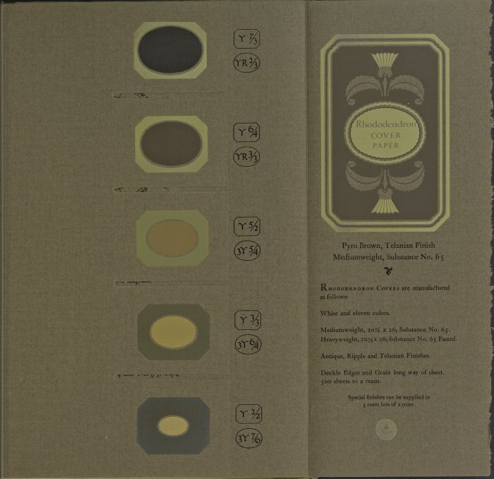 Color Sheet page from the 1921 book, A Grammar of Color, for Rhododendron Covers manufactured in Pyro Brown, Telanian Finish.