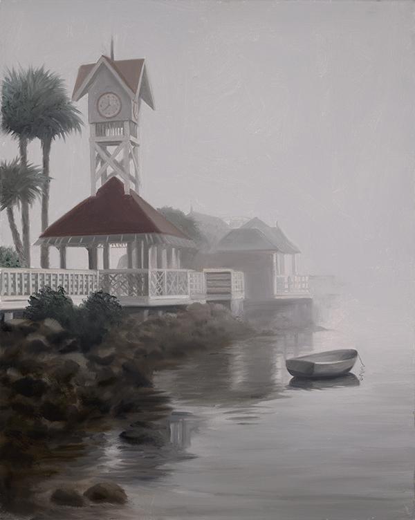 Painting by Ralph Garafola, Bridge Street Pier Foggy Day on Ana Maria Island