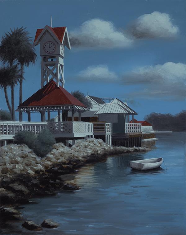 Painting by Ralph Garafola Bridge Street Pier Moonlight on Ana Marila Island
