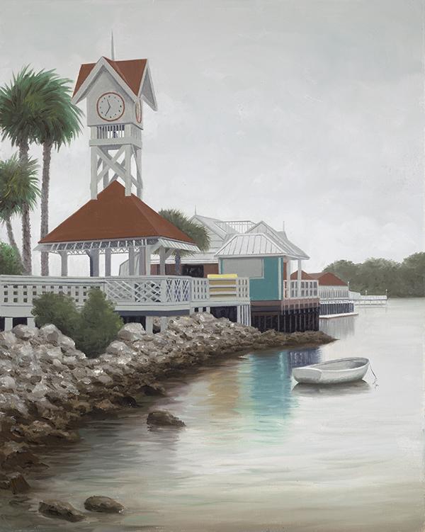 Painting by Ralph Garafola, Bridge St Pier Overcast on Ana Maria Island