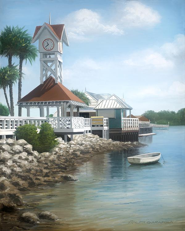 Painting by Ralph Garafola. Bridge Street Pier Sunny Day on Ana Maria Island