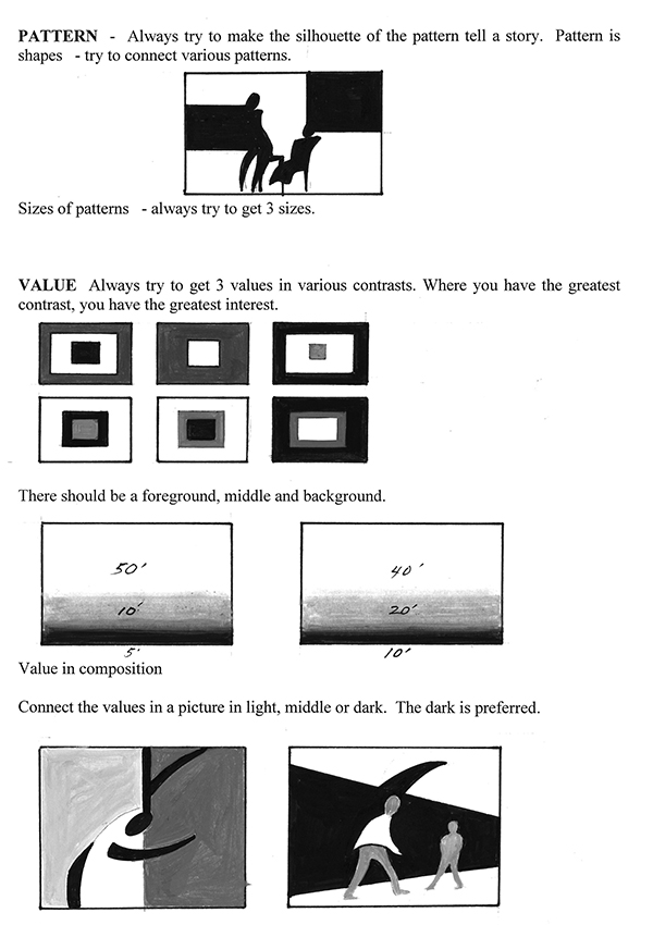 "Excerpt from the book ""Frank J. Reilly - Elements of Painting"" featuring exercises for creating patterns and value"