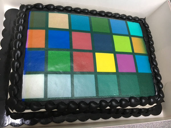 A birthday cake with a ColorChecker chart recreated using food coloring on top