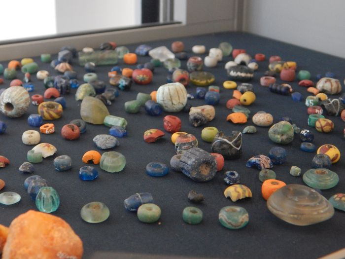 Ancient glass beads from the Viking Age.