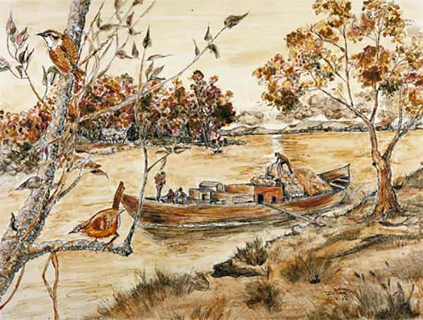 A painting by Janis Lang of a boat riding along the shores of the Missouri River re-enacting the trail Lewis & Clark took