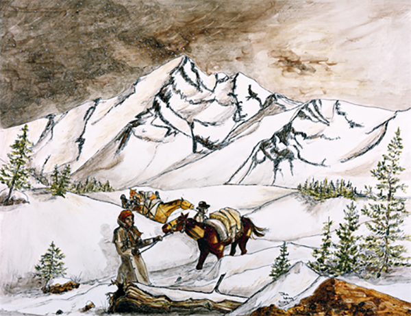 A painting by Janice Lang of the Corps of Discovery along the Lewis & Clark Trail