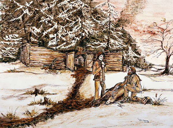 A painting by Janice Lang of Fort Clatsop along the Lewis & Clark trail made with soil paints